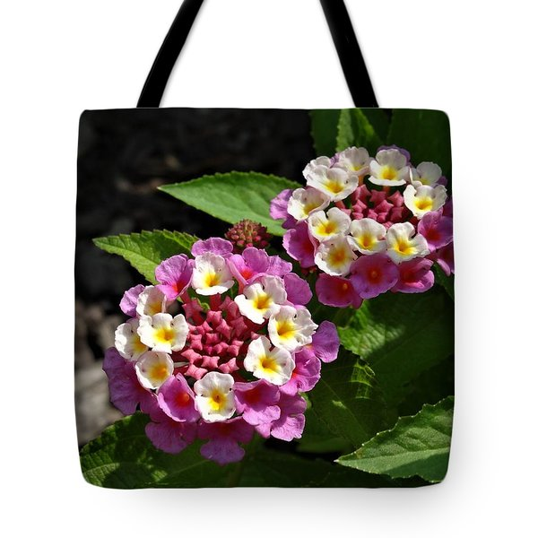 Pink-white Lantana Tote Bag