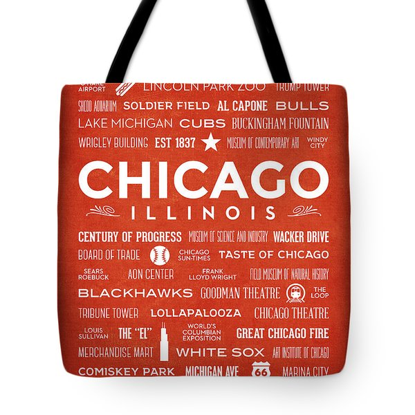 Tote Bag featuring the digital art Places Of Chicago On Orange Chalkboard by Christopher Arndt