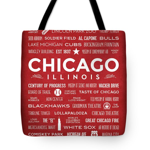 Tote Bag featuring the digital art Places Of Chicago On Red Chalkboard by Christopher Arndt