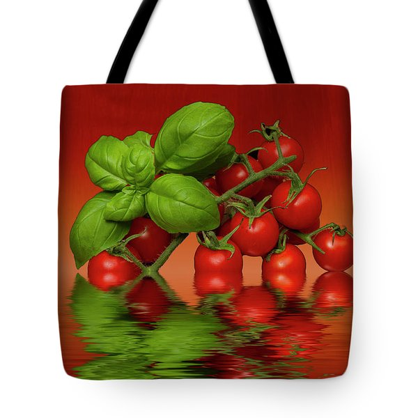 Tote Bag featuring the photograph Plum Cherry Tomatoes Basil by David French