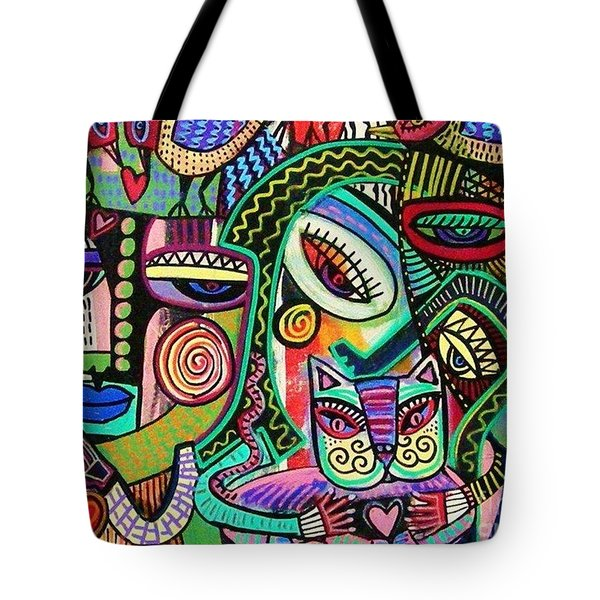 Plump Pink Aztec Kitty And Birds Tote Bag