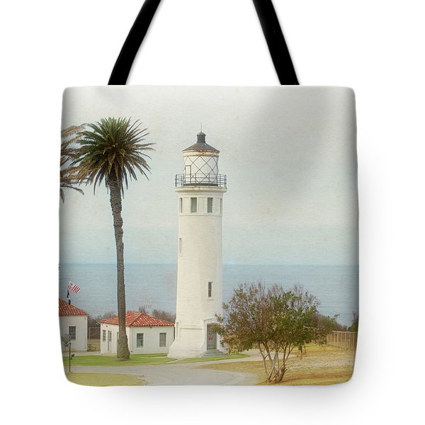 Point Vincente Lighthouse, California In Retro Style Tote Bag
