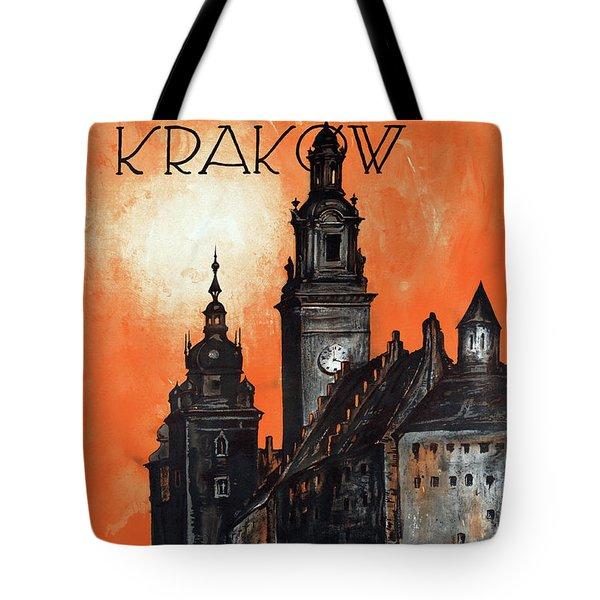 Poland Krakow Vintage Travel Poster Restored Tote Bag by Carsten Reisinger