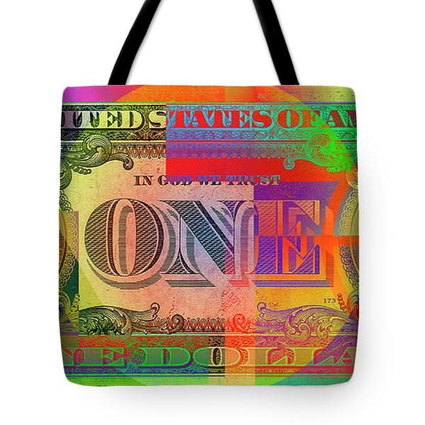 Pop-art Colorized One U. S. Dollar Bill Reverse Tote Bag by Serge Averbukh