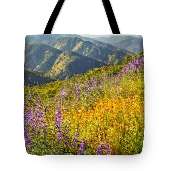 Poppies And Lupine Tote Bag by Marc Crumpler