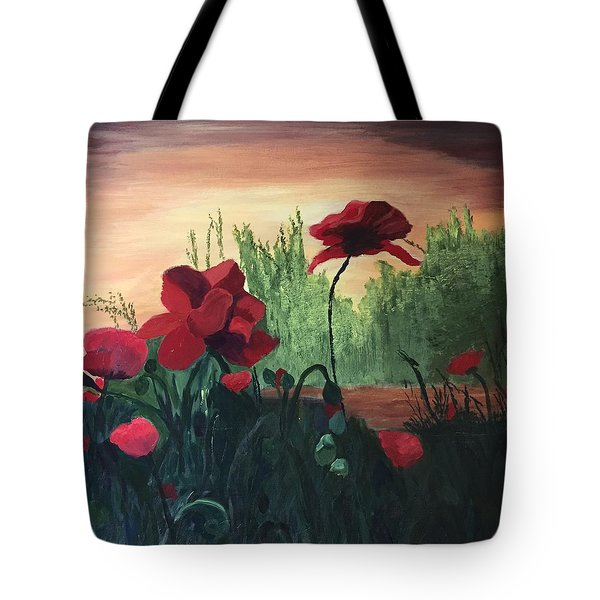 Tote Bag featuring the painting Poppies by Jane Croteau