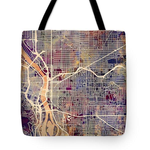 Tote Bag featuring the digital art Portland Oregon City Map by Michael Tompsett