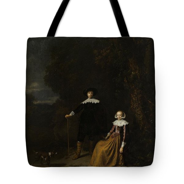 Portrait Of A Couple In A Landscape Tote Bag by Gerard Dou