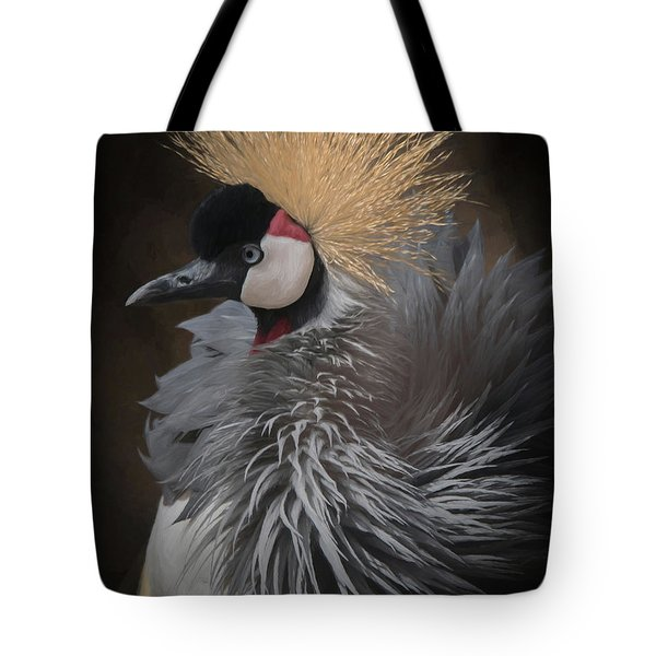 Tote Bag featuring the digital art Portrait Of A Crowned Crane by Ernie Echols