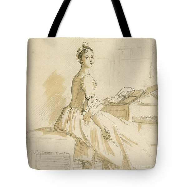 Portrait Of A Lady At A Drawing Table Tote Bag