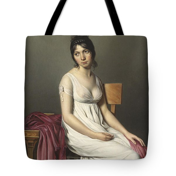Portrait Of A Young Woman In White Tote Bag