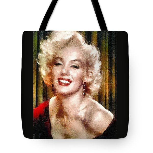 Tote Bag featuring the digital art Portrait Of Marilyn Monroe by Charmaine Zoe