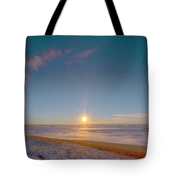 Prairie Winter Sunset Tote Bag