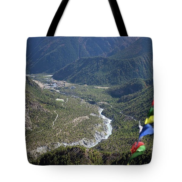 Prayer Flags In The Himalaya Mountains, Annapurna Region, Nepal Tote Bag