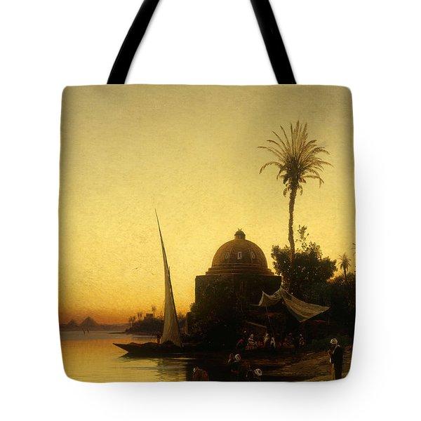 Praying To Mecca Tote Bag by Herman David Salomon Corrodi