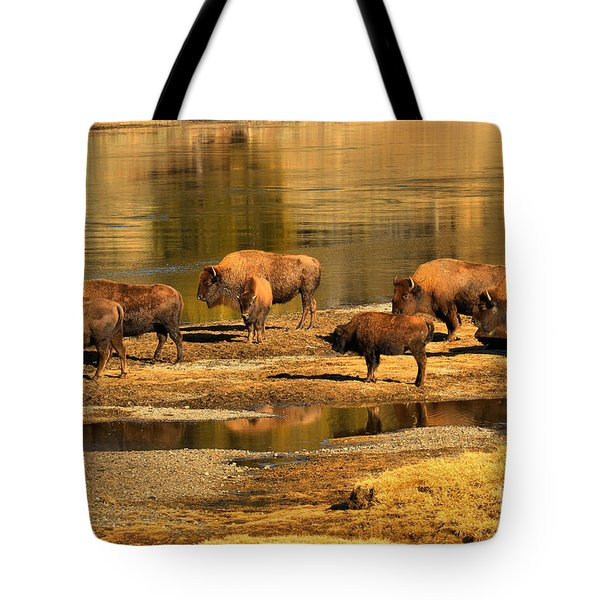 Tote Bag featuring the photograph Gathering To Cross The Yellowstone River by Adam Jewell