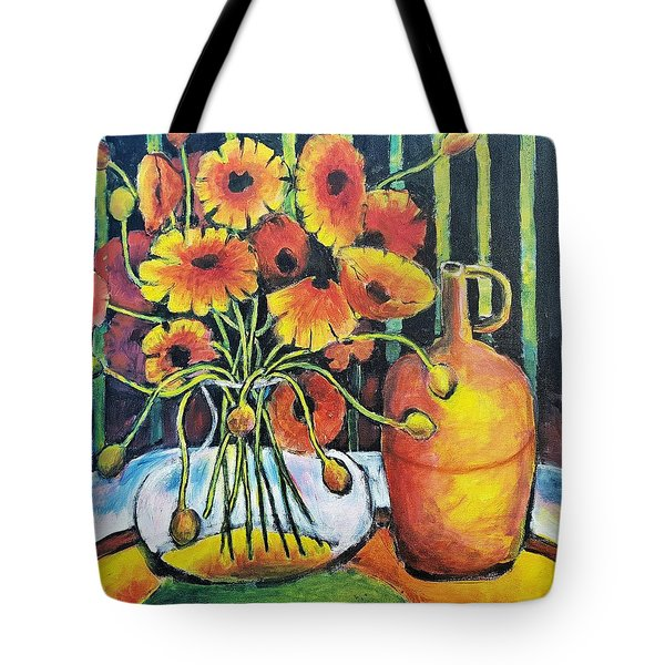 Tote Bag featuring the painting Pretty Poppies by Jeremy Holton