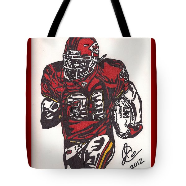 Tote Bag featuring the drawing Priest Holmes 2 by Jeremiah Colley