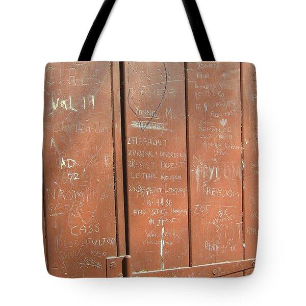 Prison Graffiti Tote Bag