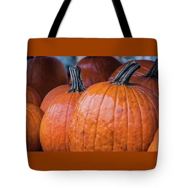 Pumpkins In Rain Tote Bag