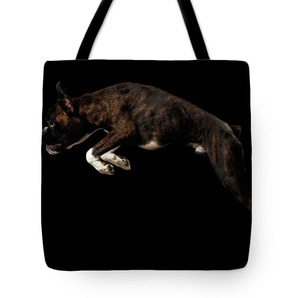 Purebred Boxer Dog Isolated On Black Background Tote Bag by Sergey Taran