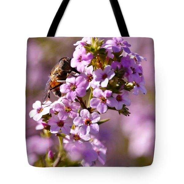 Purple Blossoms And Hoverfly Tote Bag