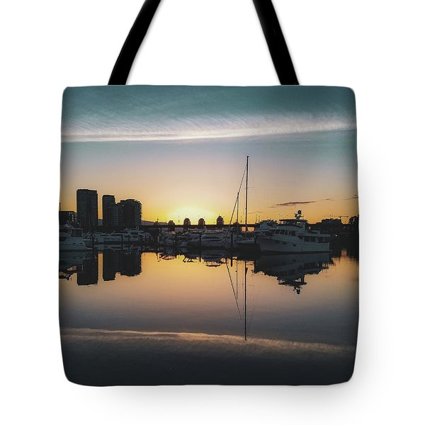 Tote Bag featuring the photograph Quayside Marina At Sunrise by Andy Konieczny