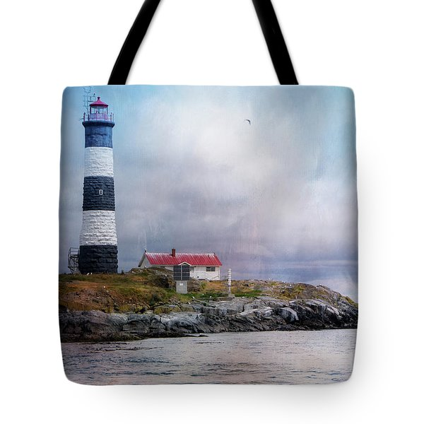 Lighthouse At Race Rocks Tote Bag