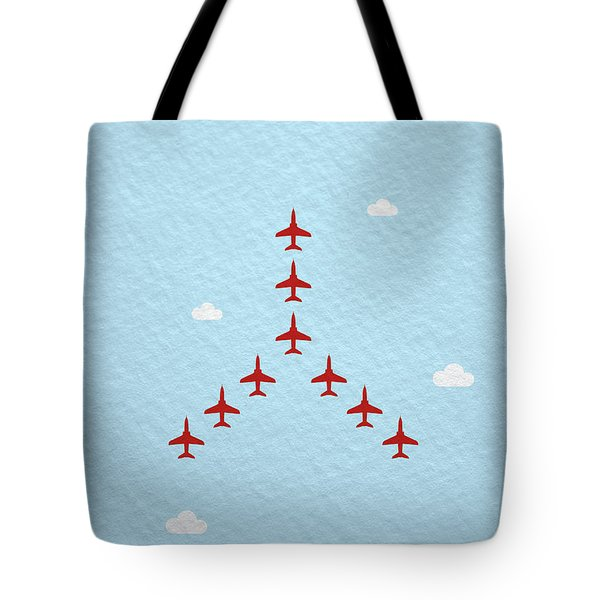 Raf Red Arrows In Formation Tote Bag