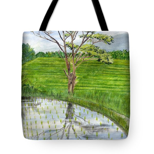 Tote Bag featuring the painting Rain Tree On The Way To Ubud Bali Indonesia by Melly Terpening