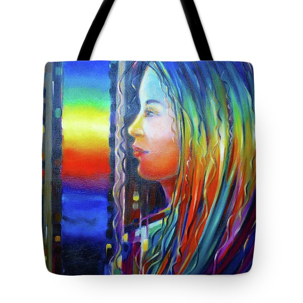 Rainbow Girl 241008 Tote Bag by Selena Boron