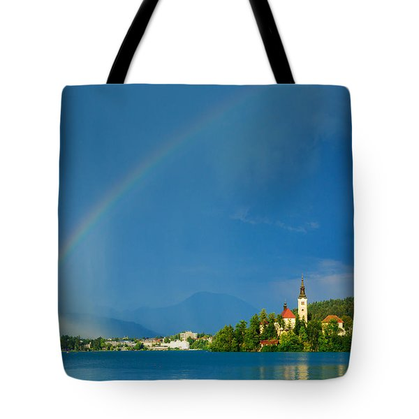 Tote Bag featuring the photograph Rainbow Over Lake Bled by Ian Middleton