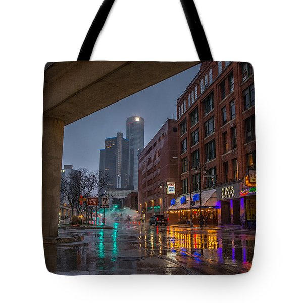 Rainy Night In Detroit  Tote Bag
