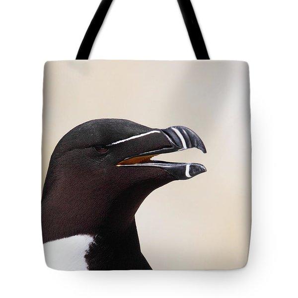 Razorbill Portrait Tote Bag by Bruce J Robinson