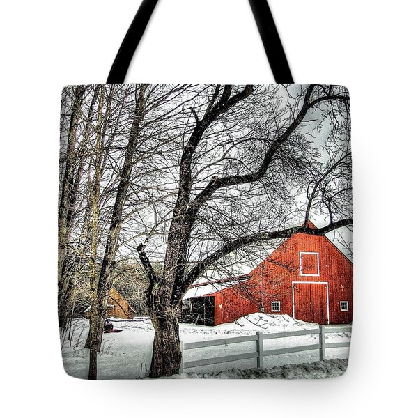 Red And White Tote Bag by Betsy Zimmerli
