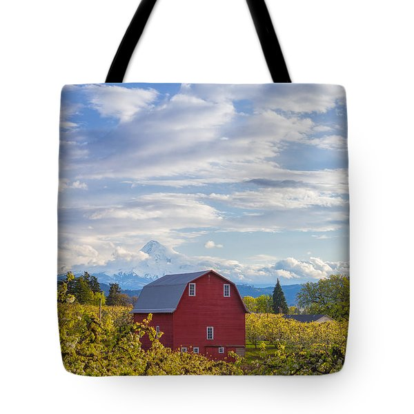 Tote Bag featuring the photograph Red Barn And Mt Hood by Patricia Davidson