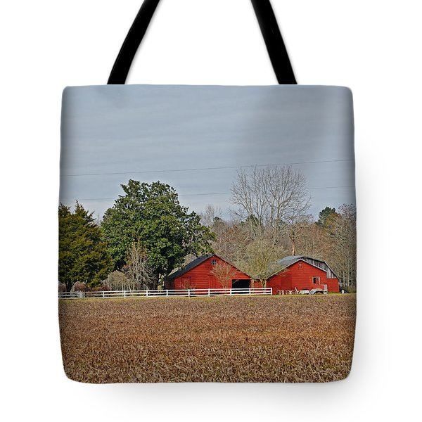 Tote Bag featuring the photograph Red Barns by Linda Brown