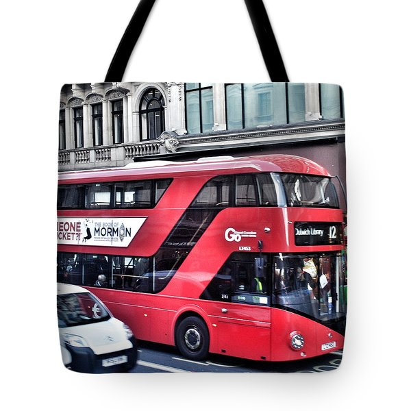 Red Bus In London  Tote Bag