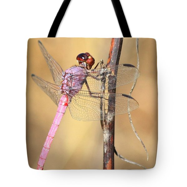 Red Dragonfly Portrait Tote Bag by Carol Groenen