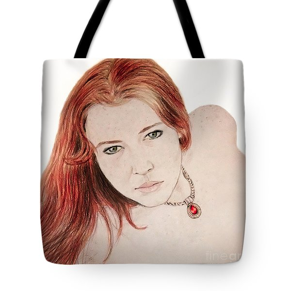 Red Hair And Freckled Beauty Tote Bag by Jim Fitzpatrick