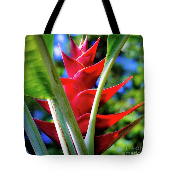 Red Heliconia Hawaii Tote Bag