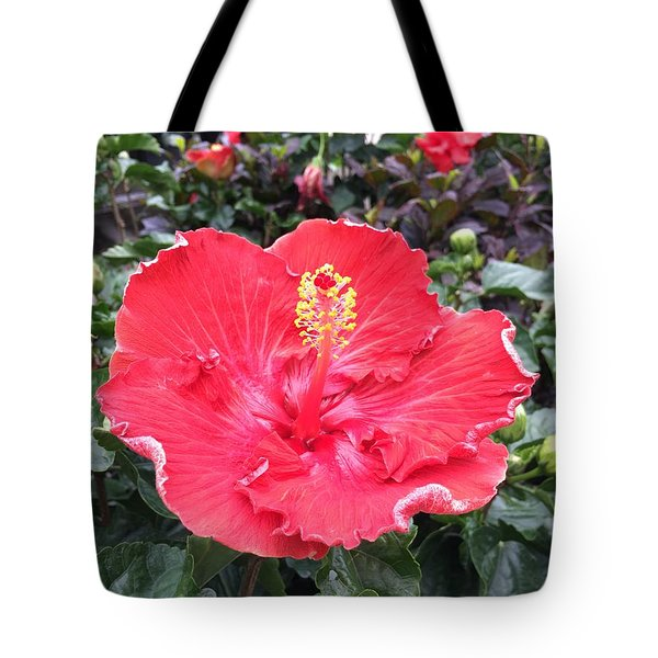 Tote Bag featuring the photograph Red Hibiscus by Kay Gilley