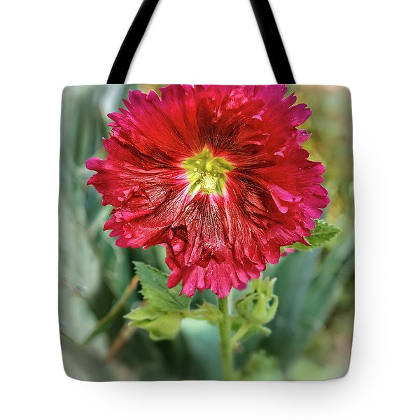 Red Hollyhock Tote Bag