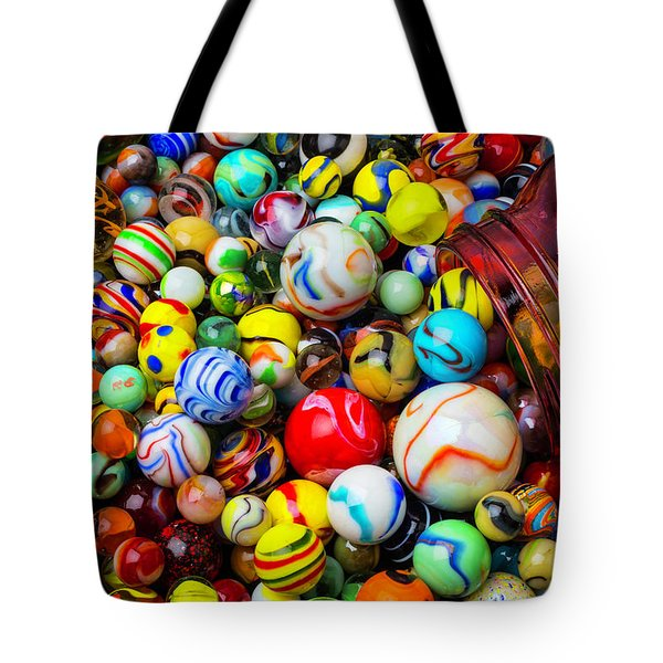 Red Jar With Marbles Tote Bag