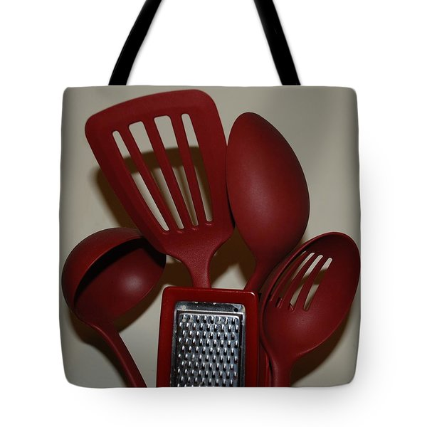 Red Kitchen Utencils Tote Bag by Rob Hans