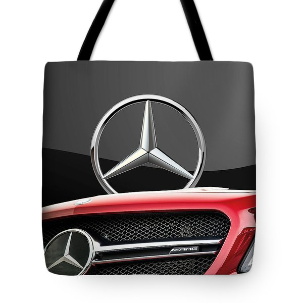 Red Mercedes - Front Grill Ornament And 3 D Badge On Black Tote Bag by Serge Averbukh