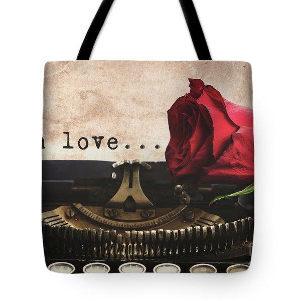 Red Rose On Typewriter Tote Bag