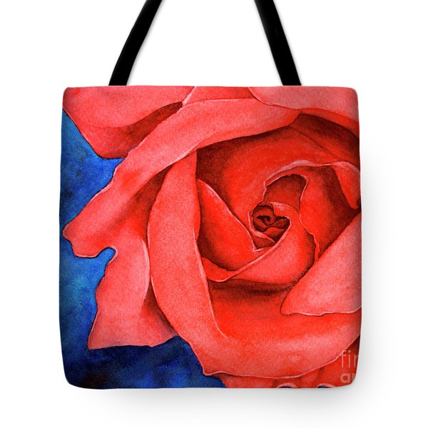 Red Rose Tote Bag by Rebecca Davis