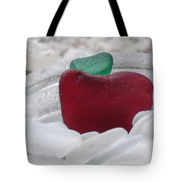 Sea Glass In Red White And Green  Tote Bag
