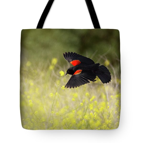 Red Winged Blackbird In Flight Tote Bag